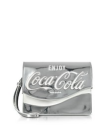 Solitario Silver Laminated Eco Leather Clutch - Pinko