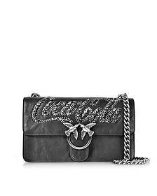 3cf10ecc0612 Love Trilogy Black Leather Shoulder Bag - Pinko