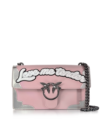 Pinko - Love Flame Pink and Silver Leather Shoulder Bag