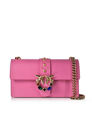 Pinko - Love Pink Jeweled Leather Shoulder Bag