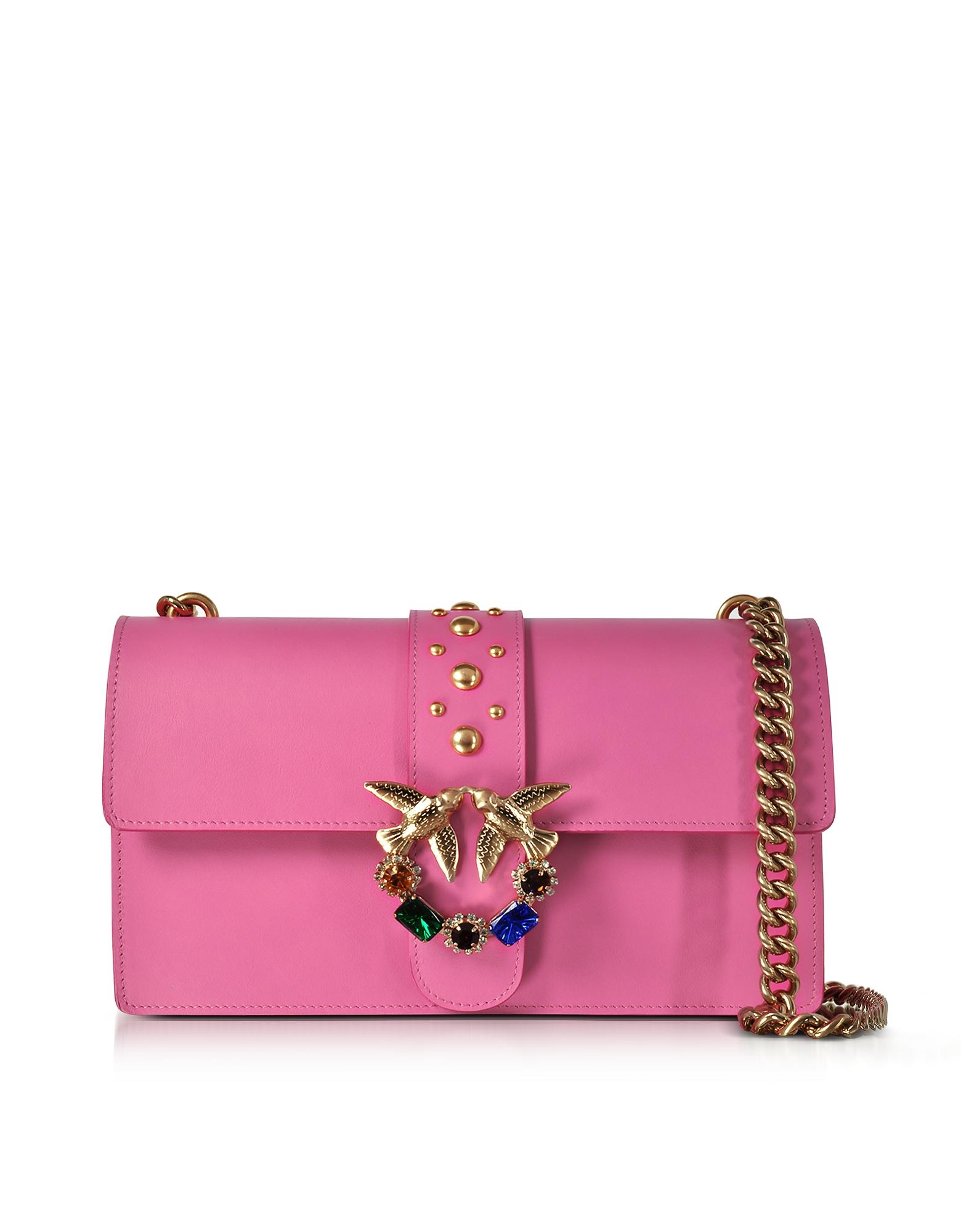 Фото Love - Розовая Кожаная Сумка на Плечо с Украшениями. Купить с доставкой