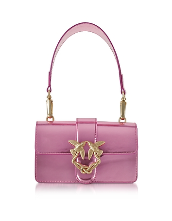 Pinko - Mini Love Stars Azalea Pink Laminated Leather Shoulder Bag