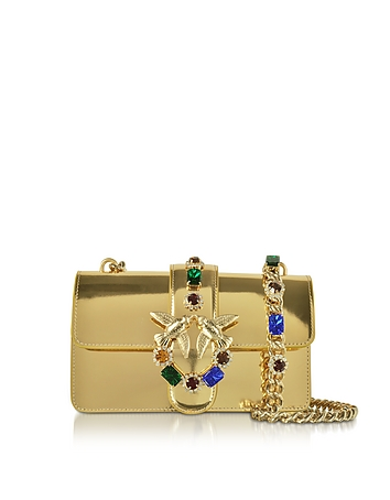 Pinko - Mini Love Gold Laminated Leather Shoulder Bag