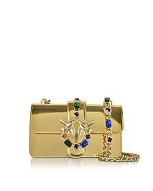 Mini Love Gold Laminated Leather Shoulder Bag - Pinko