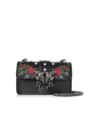 Pinko - Mini Love Jeweled Black Embroidery Leather Shoulder Bag w/Pearls