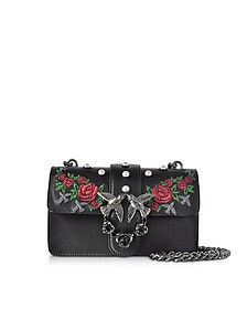 Mini Love Jeweled Black Embroidery Leather Shoulder Bag w/Pearls - Pinko