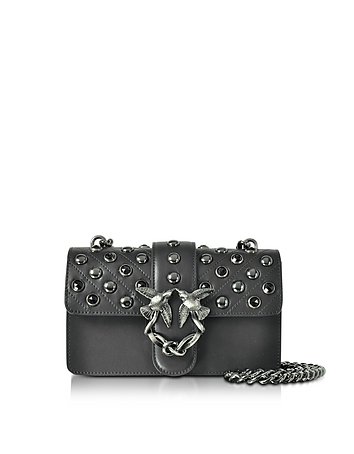 Pinko - Mini Love Black Matte Leather Shoulder Bag w/Studs and Crystals