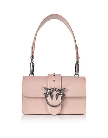 Pinko - Mini Love Antique Pink Leather Shoulder Bag