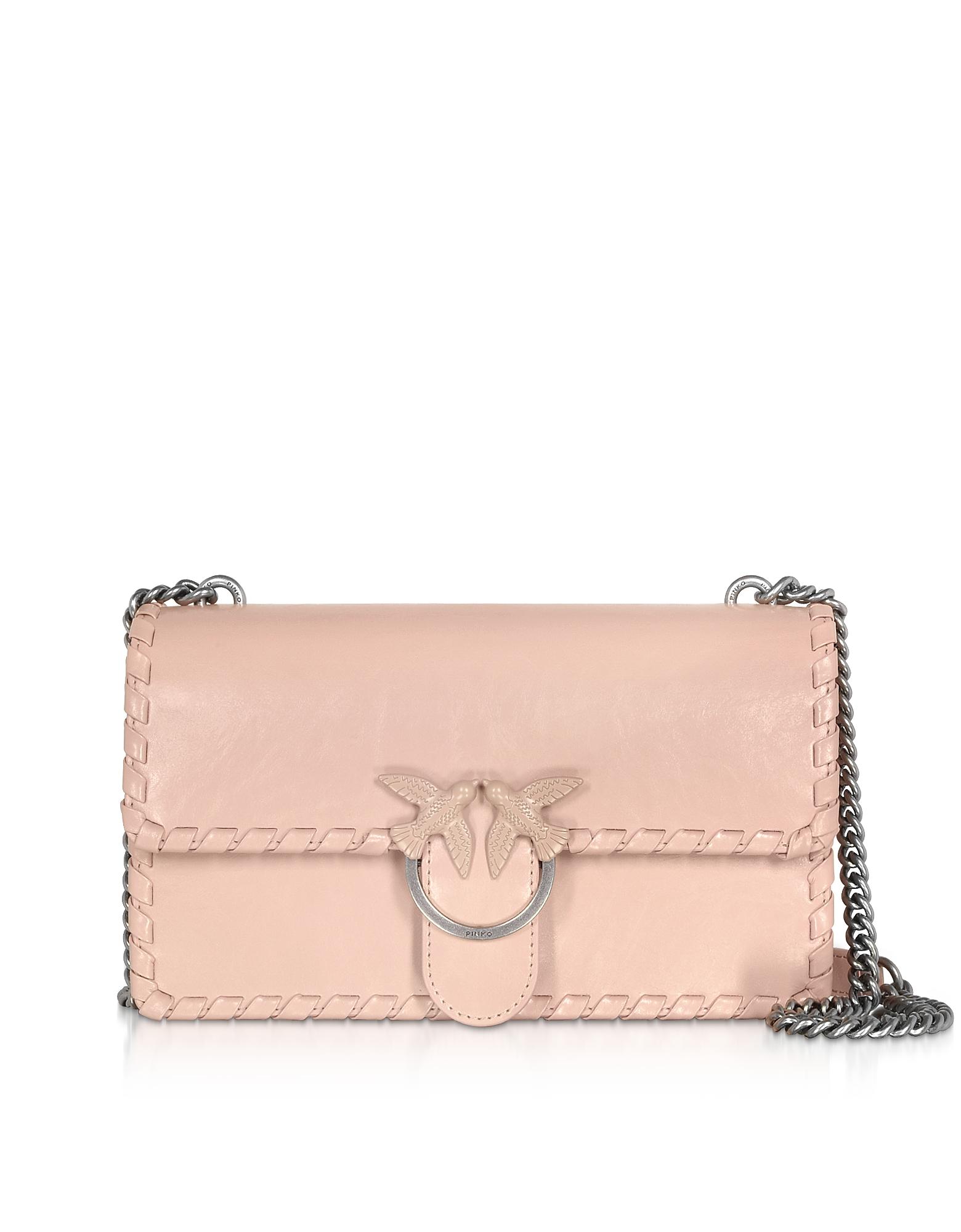 Pinko Designer Handbags, Love Twist Leather Shoulder Bag