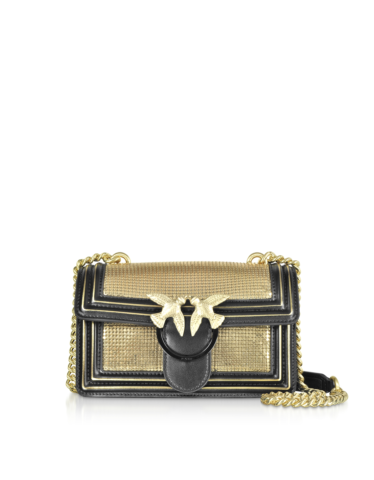 Mini Love Metal Mesh and Leather Shoulder Bag