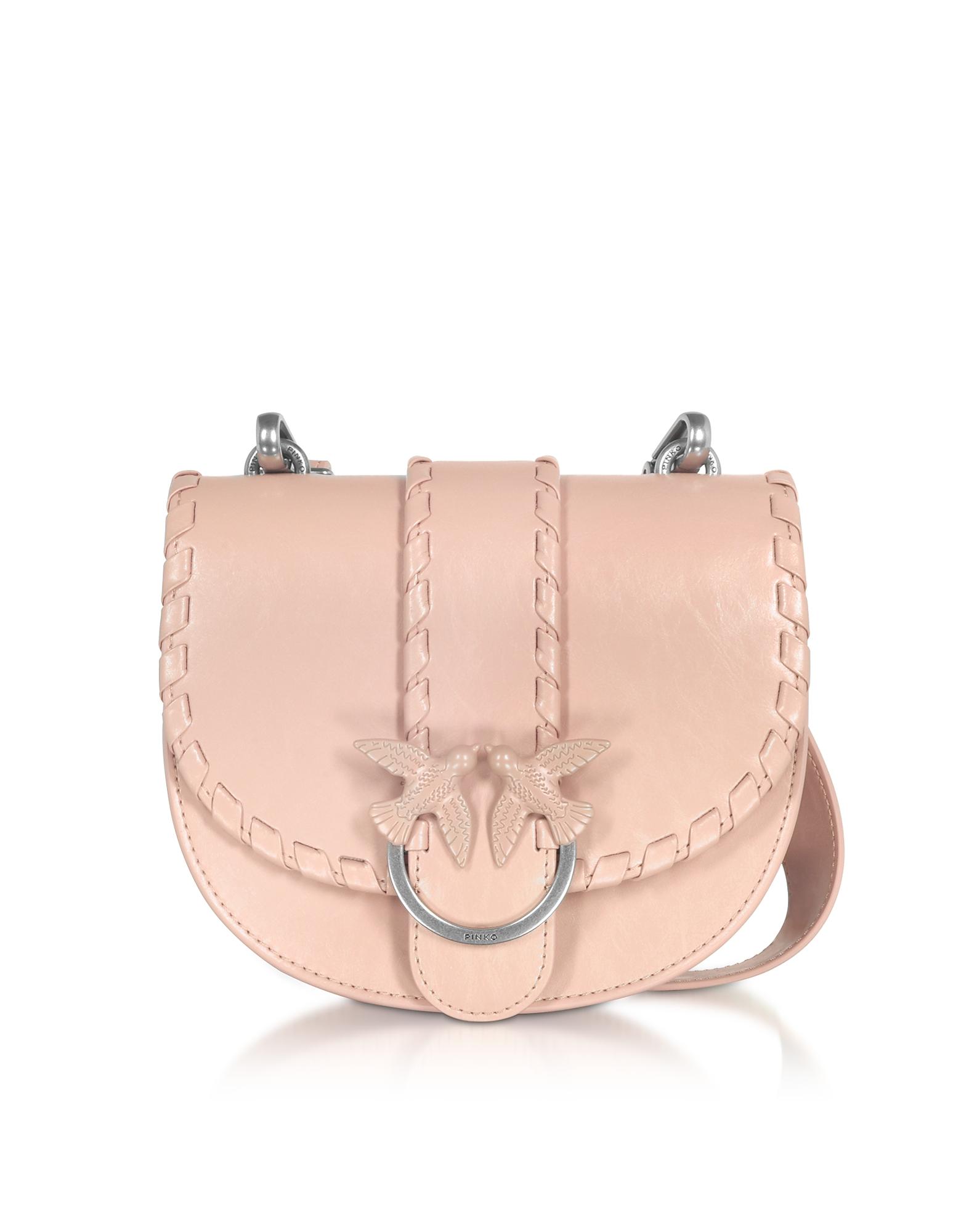 Pinko Designer Handbags, Light Pink Round Love Twist Crossbody Bag