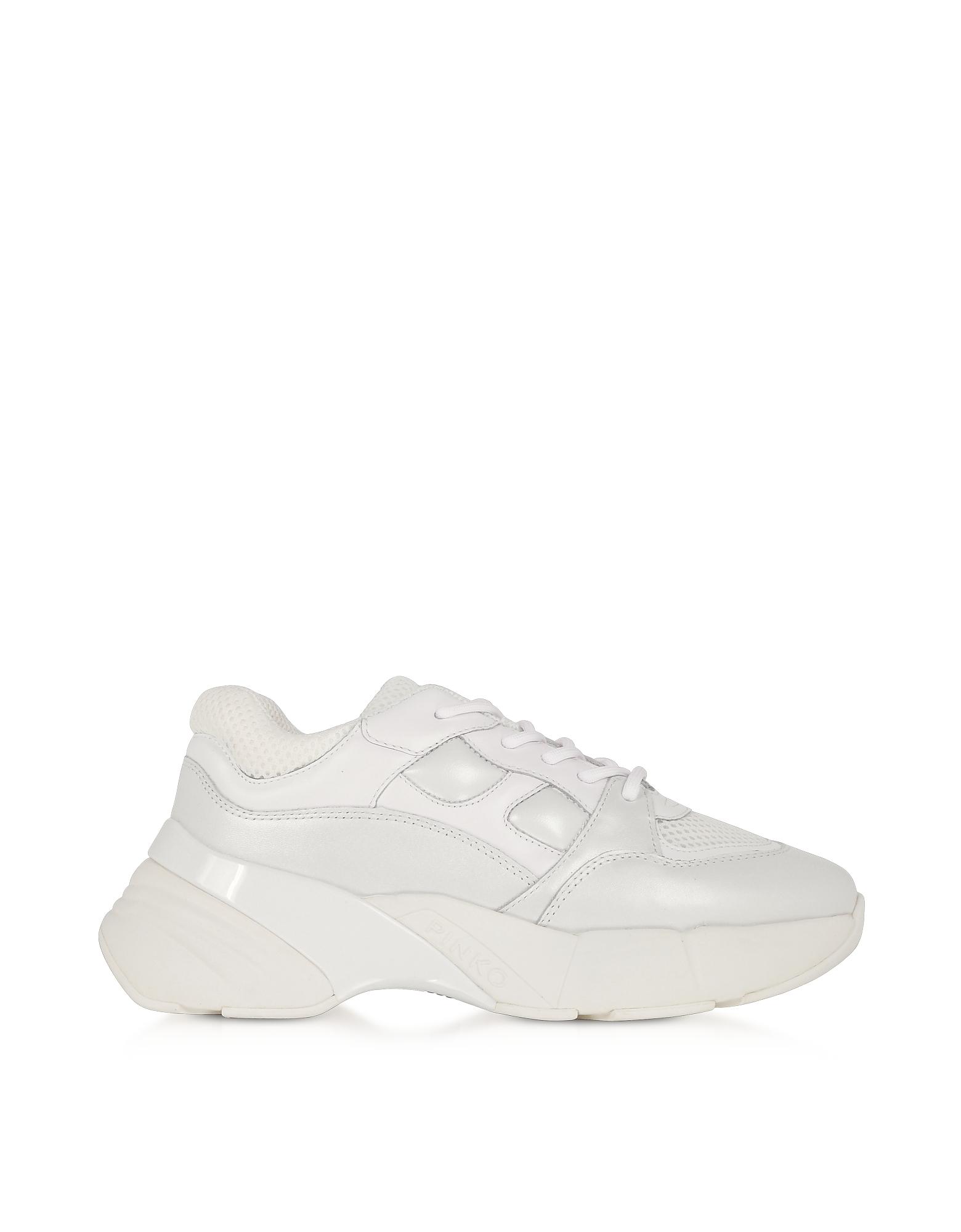 Pinko Designer Shoes, Rubino 2 White Calf Leather Women's Sneakers
