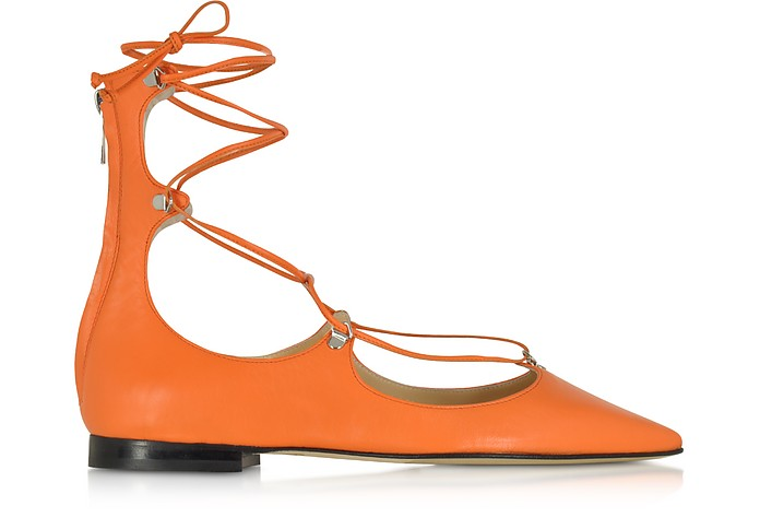 Mercurio - Ballerines en Cuir Orange avec Lacets - Pinko