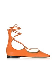 Mercurio Flache Ballerina aus Leder in orange - Pinko