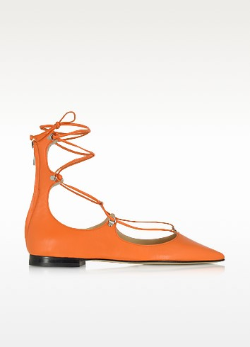 Mercurio Orange Leather Pointed Ballet Flats - Pinko