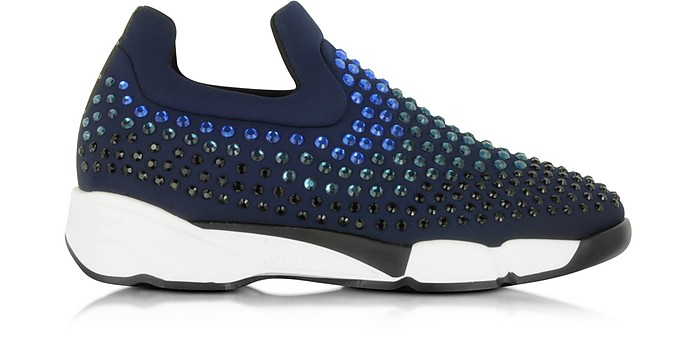 Gem Turbine Navy Blue Neoprene w/Light Blue Strass Sneaker - Pinko