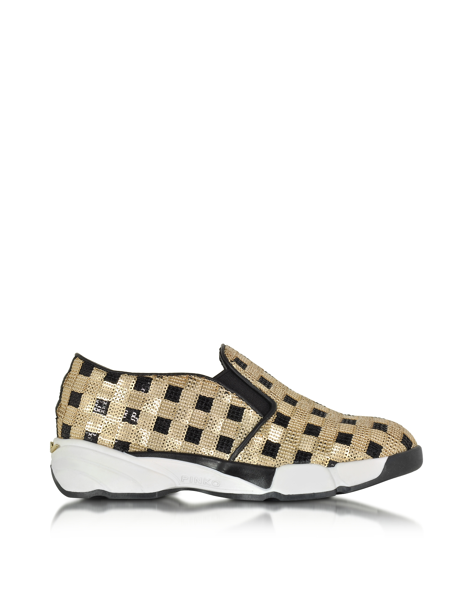 Pinko Shoes, Sequins Gold Fabric Sneaker