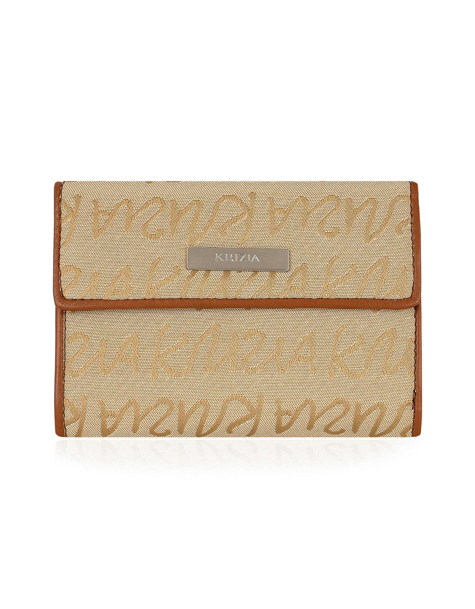 Krizia  Women's Sand Signature Canvas and Leather Small ID Wallet