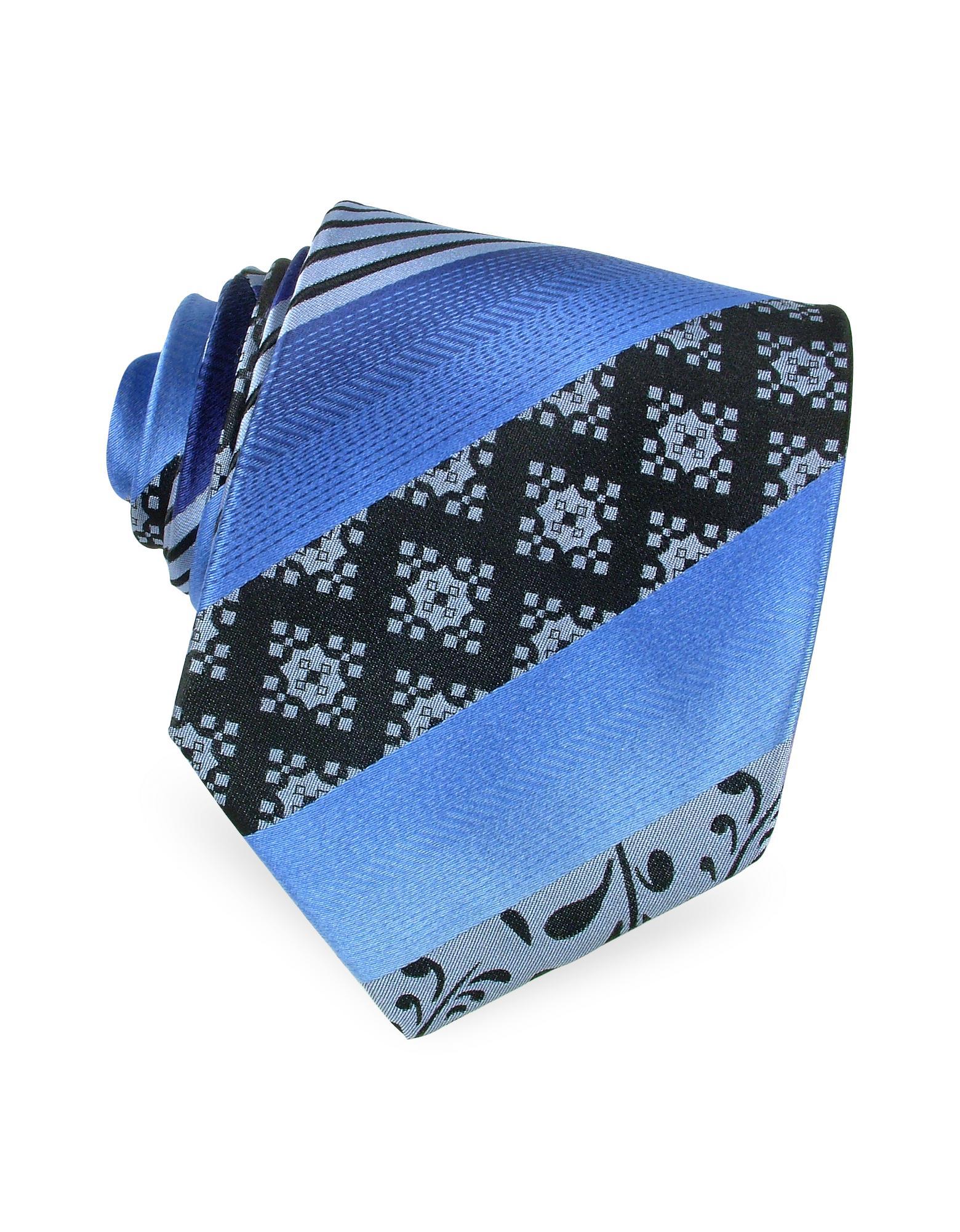 Ken Scott Gewobene Seidenkrawatte mit Ornamenten und Streifen in blau