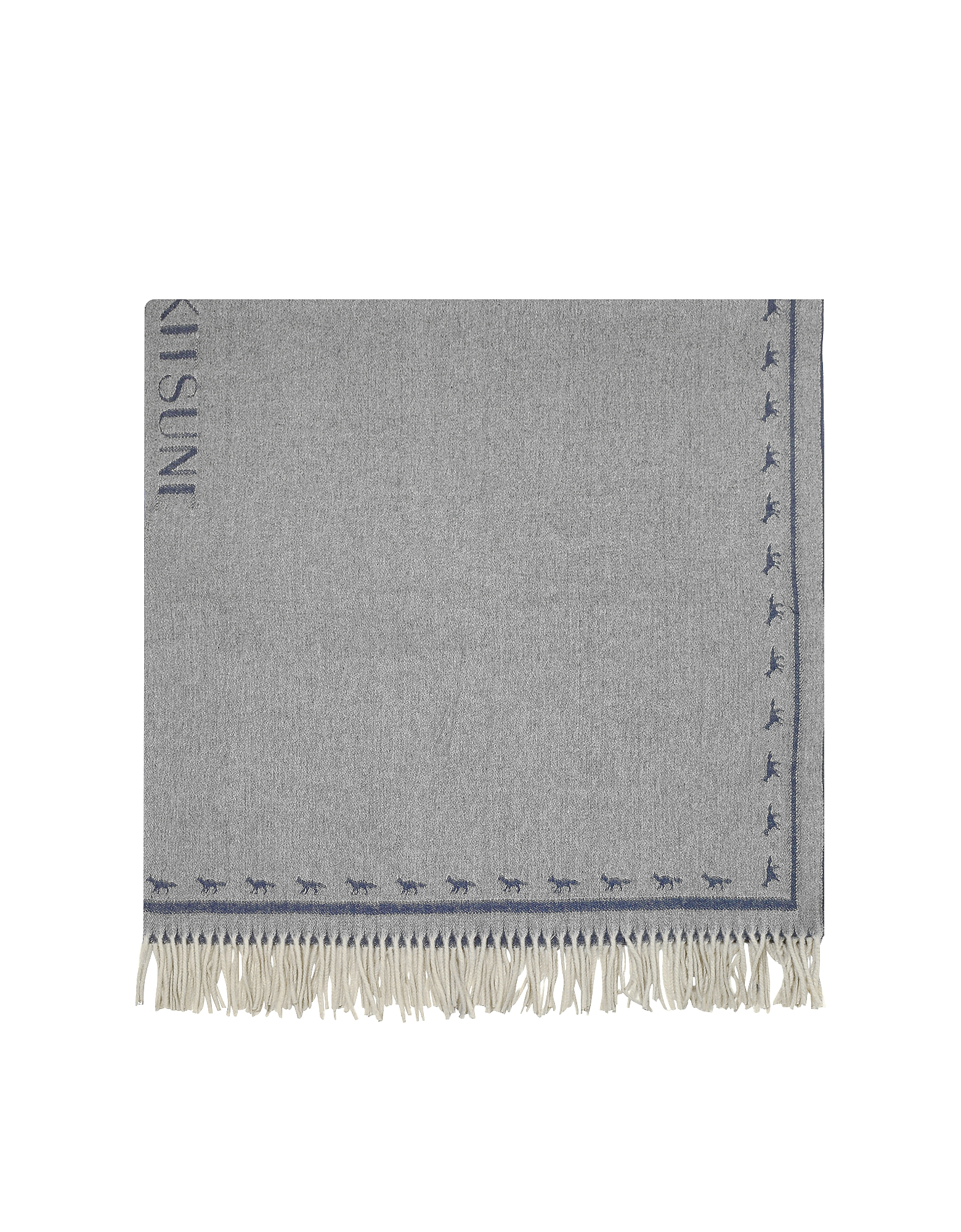 Maison Kitsuné Long Scarves, Navy and Camel Fox Plaid Wool Wrap