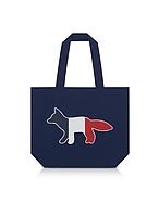 Maison Kitsuné Tricolor Fox Patch Shopper aus Canvas bei Forzieri