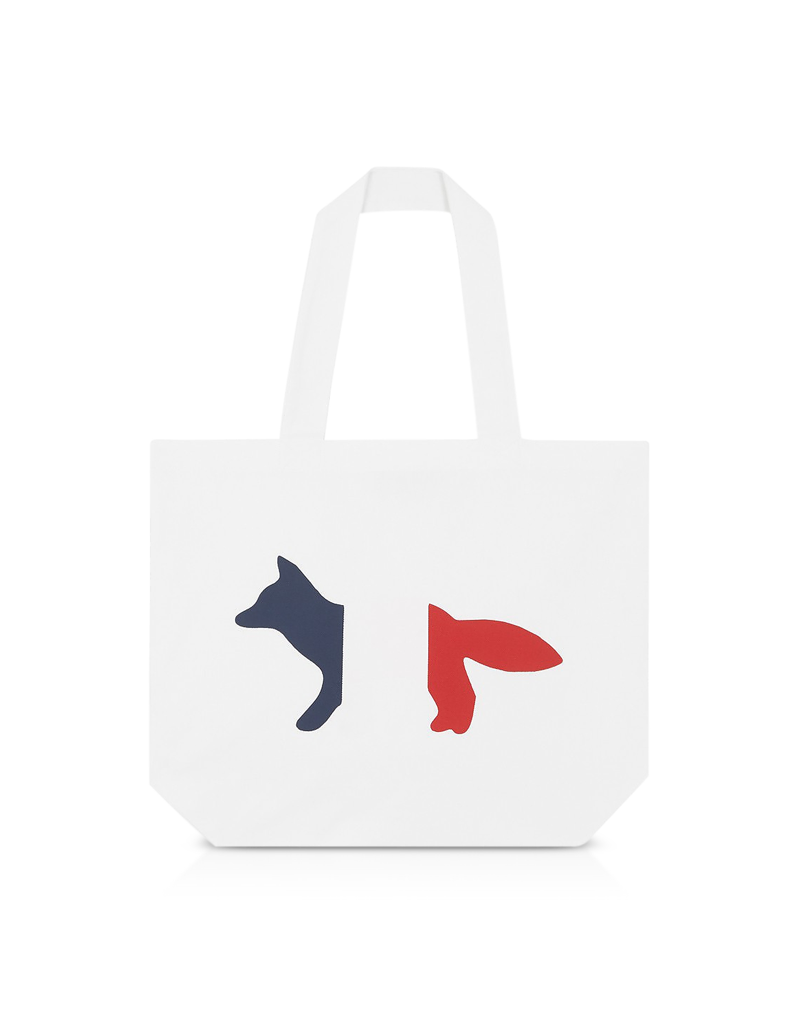 Maison Kitsuné Handbags, Tricolor Fox Patch Canvas Tote Bag