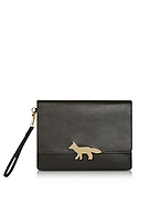 Maison Kitsuné Golden Fox Clutch aus Leder in schwarz bei Forzieri