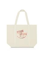 Maison Kitsuné Palais Royal Red and Ecru Cotton Canvas Tote Bag bei Forzieri