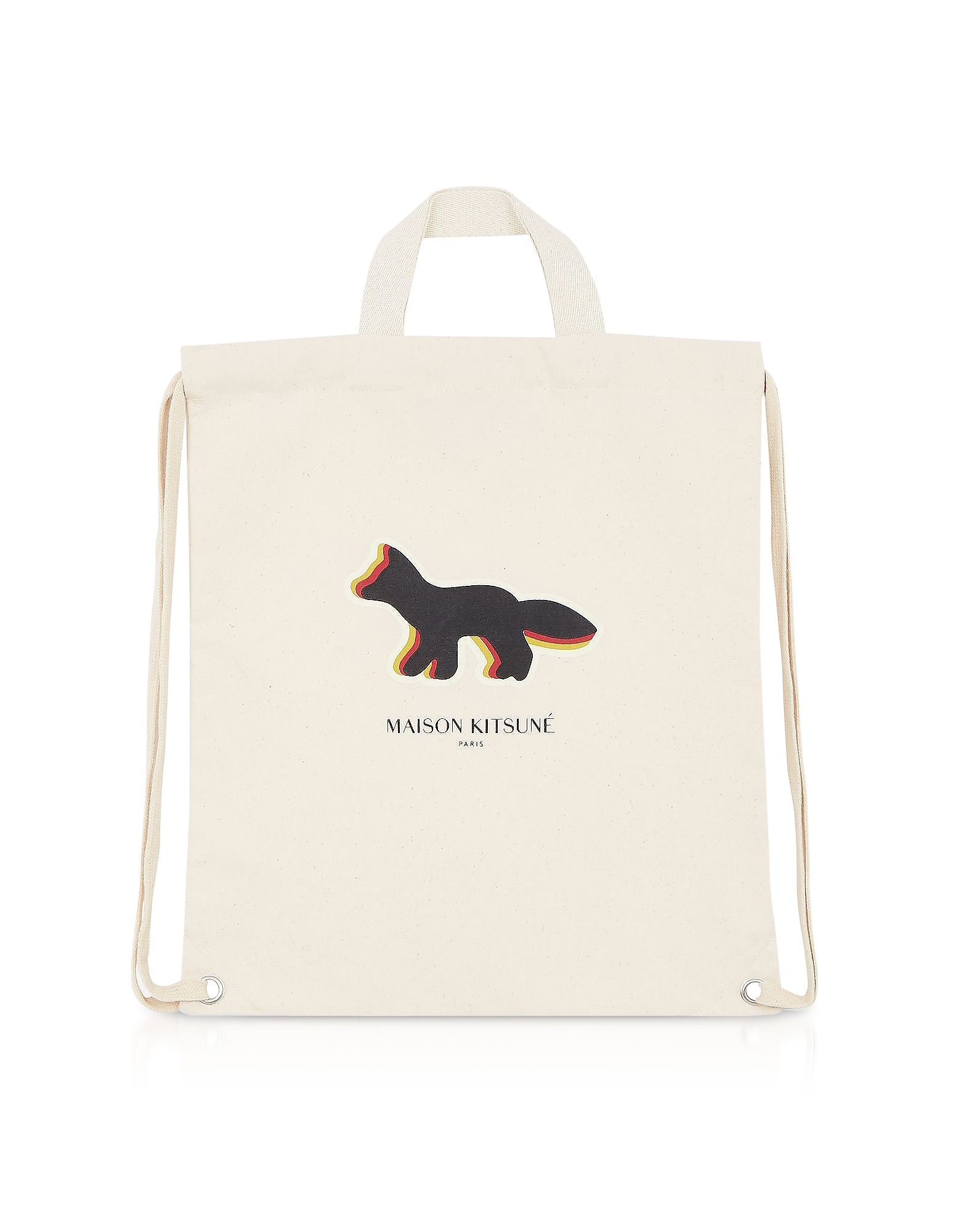 Image of Maison Kitsuné Designer Handbags, Quadri Fox Tote/Backpack