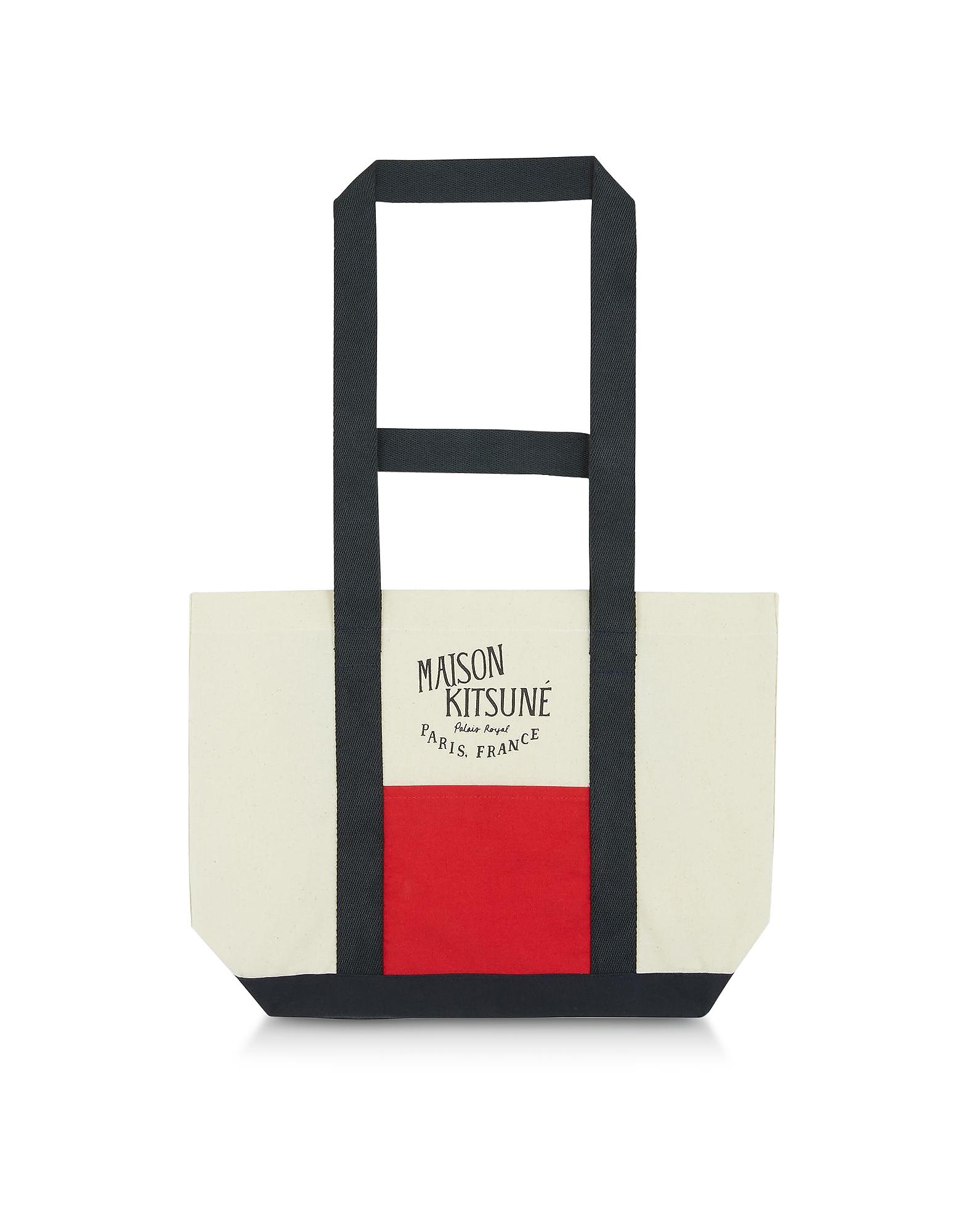 Image of Maison Kitsuné Designer Handbags, Color Block Canvas Small Tote Bag