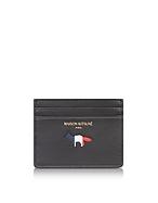 Maison Kitsuné Tricolor Fox Kreditkartenetui aus Leder in schwar bei Forzieri