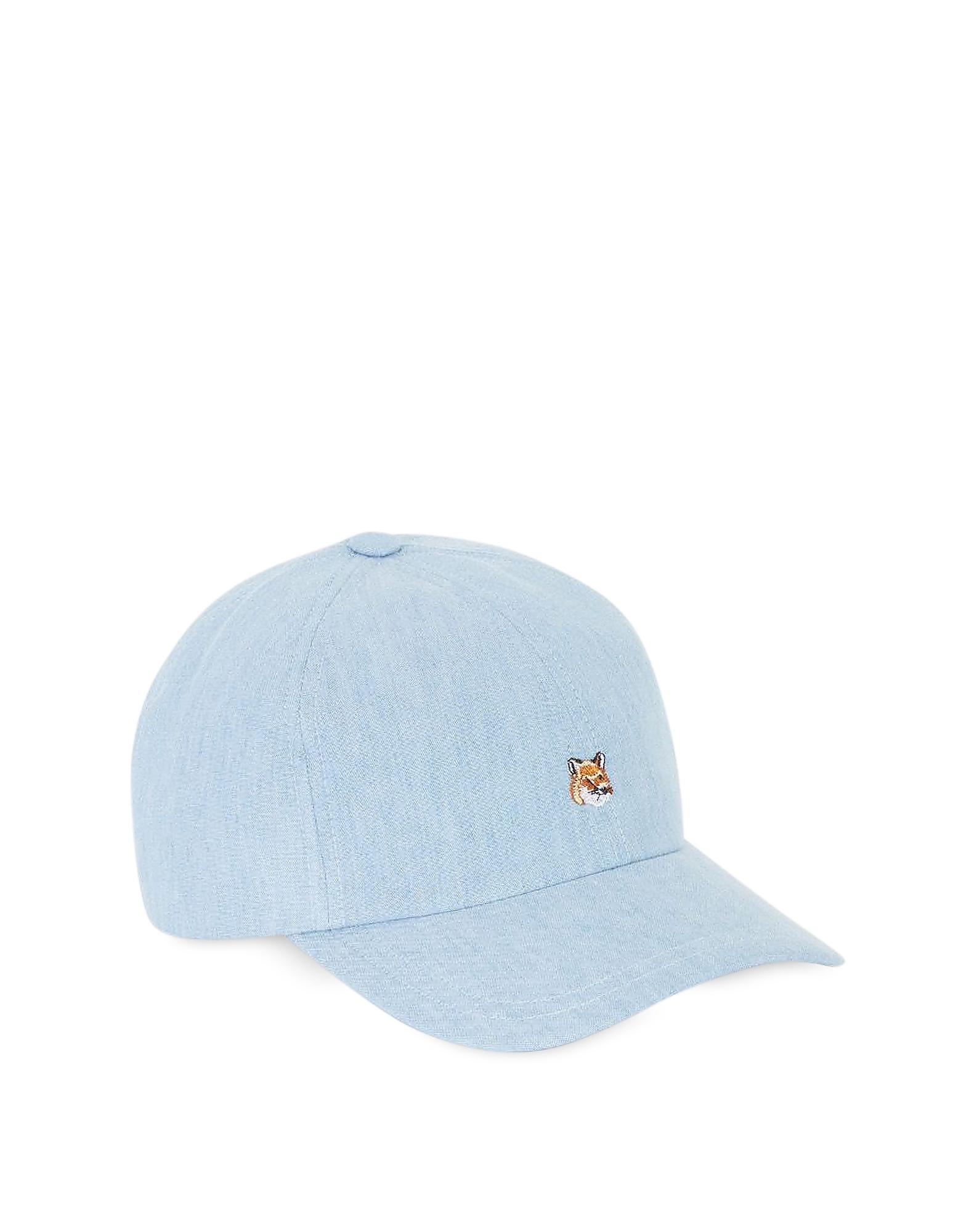Chambray Baseball Cap w/ Small Fox Head Embroidery