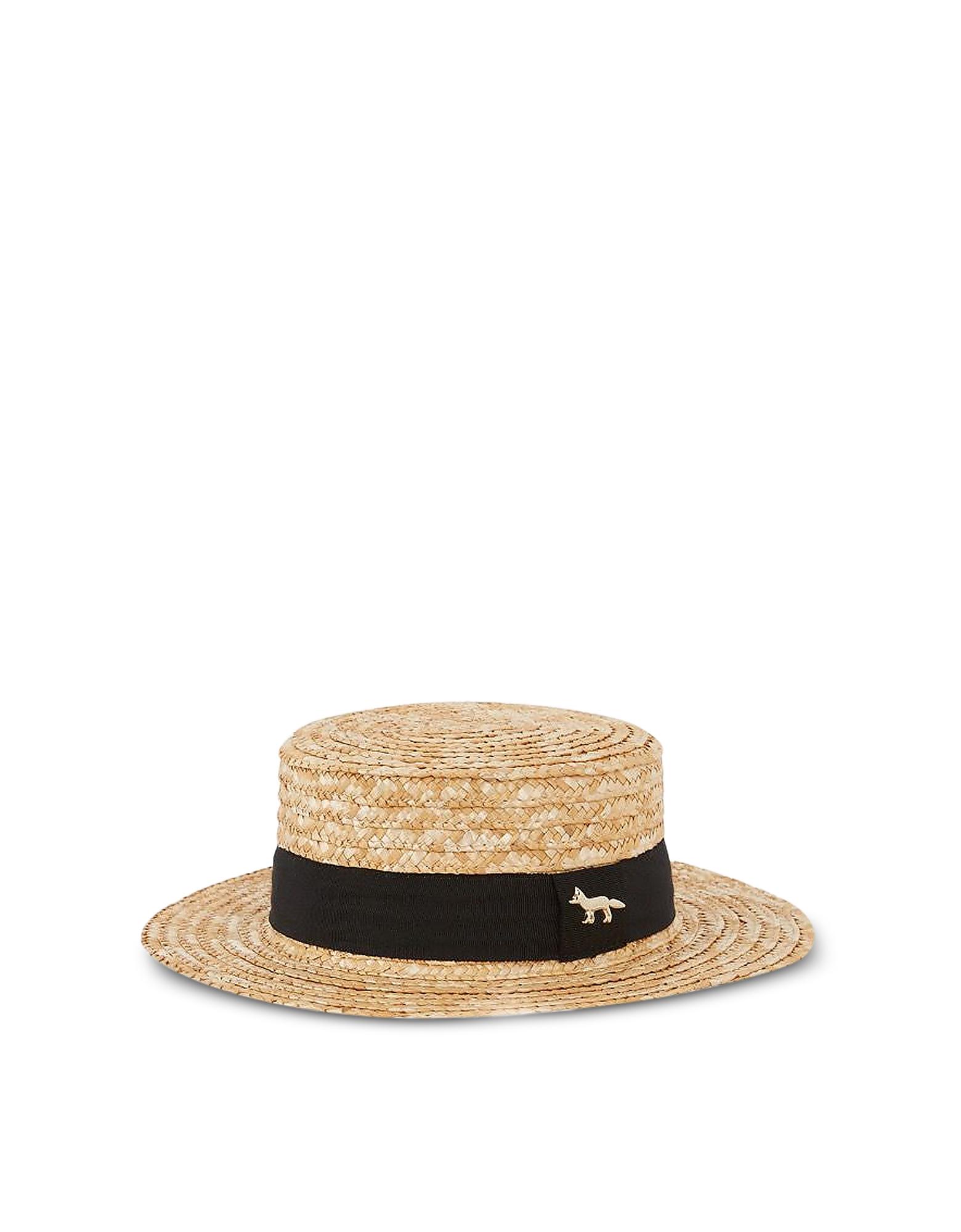 Maison Kitsuné Designer Men's Hats, Straw Boater Hat