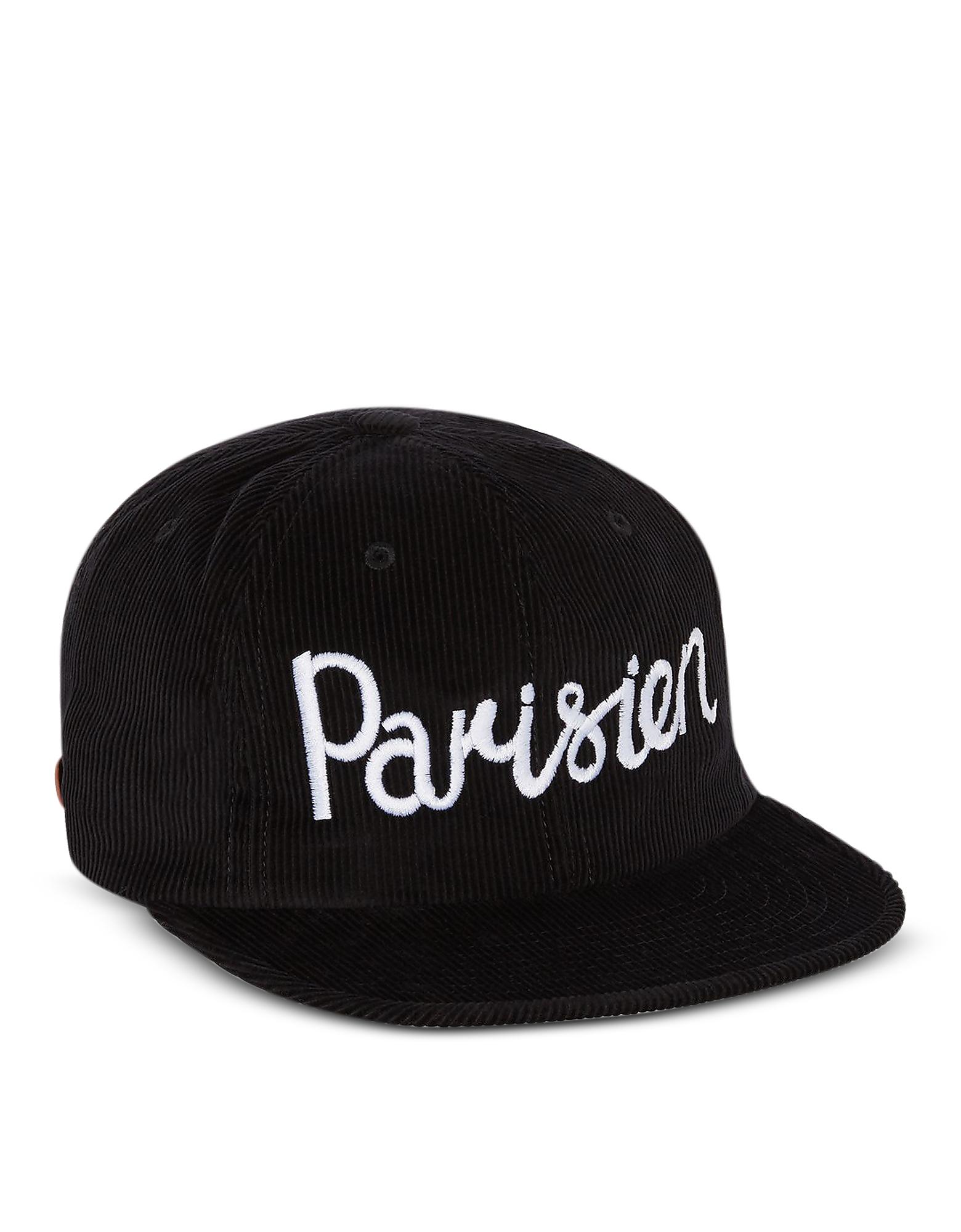 Image of Maison Kitsuné Designer Men's Hats, Corduroy Parisien Black Baseball Cap