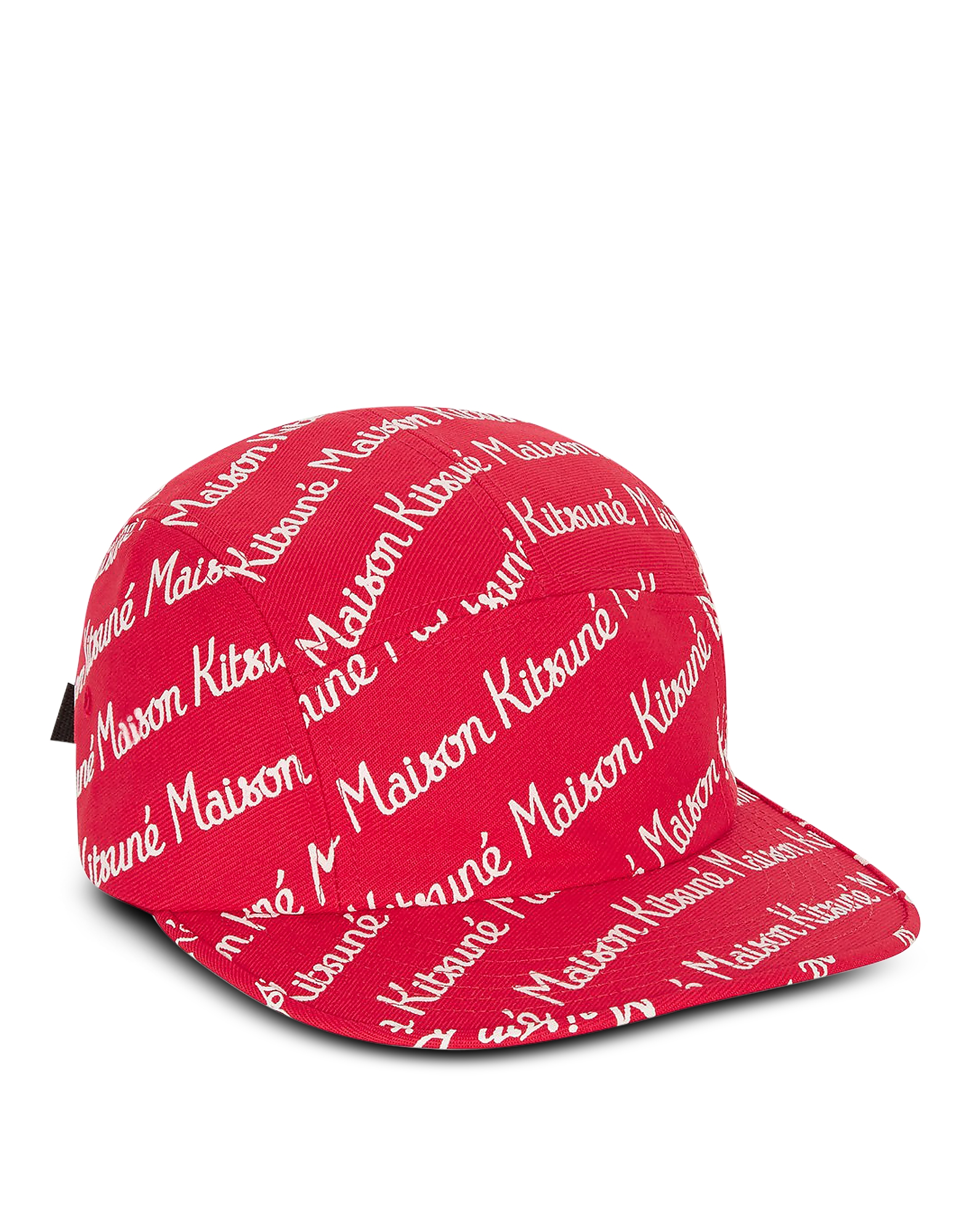 Maison Kitsuné Designer Men's Hats, Maison Kitsune 5P Red Cotton Canvas Baseball Cap