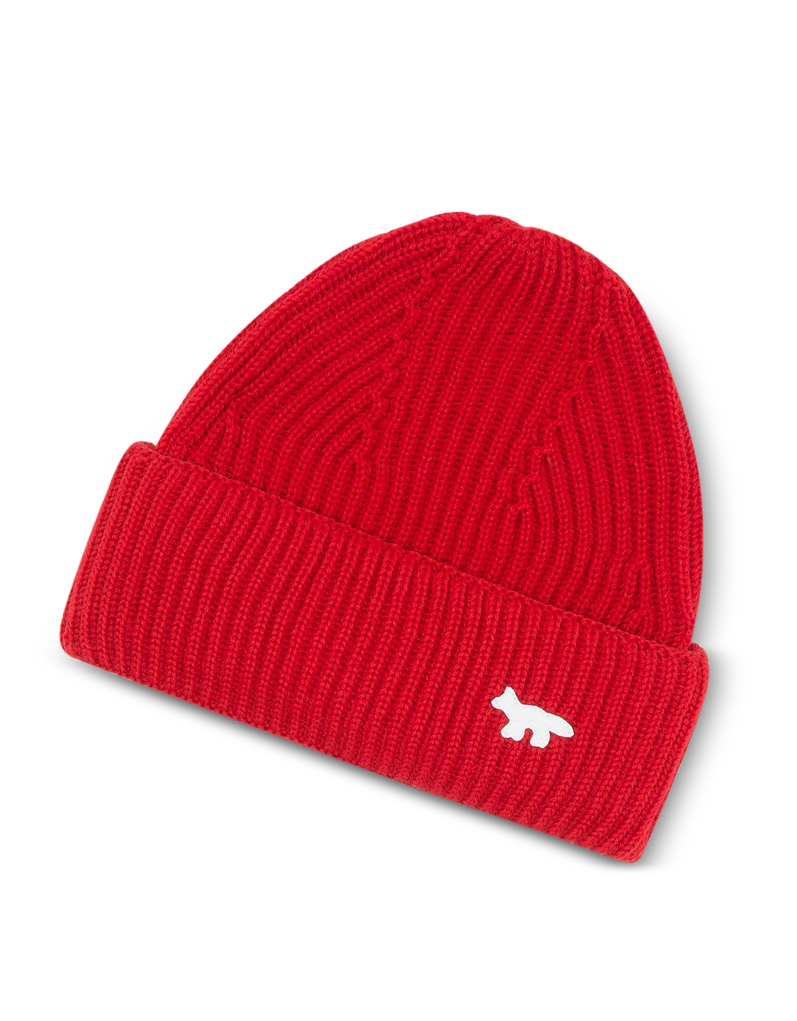 Maison Kitsuné Men's Hats, Red Wool Knitted Hat