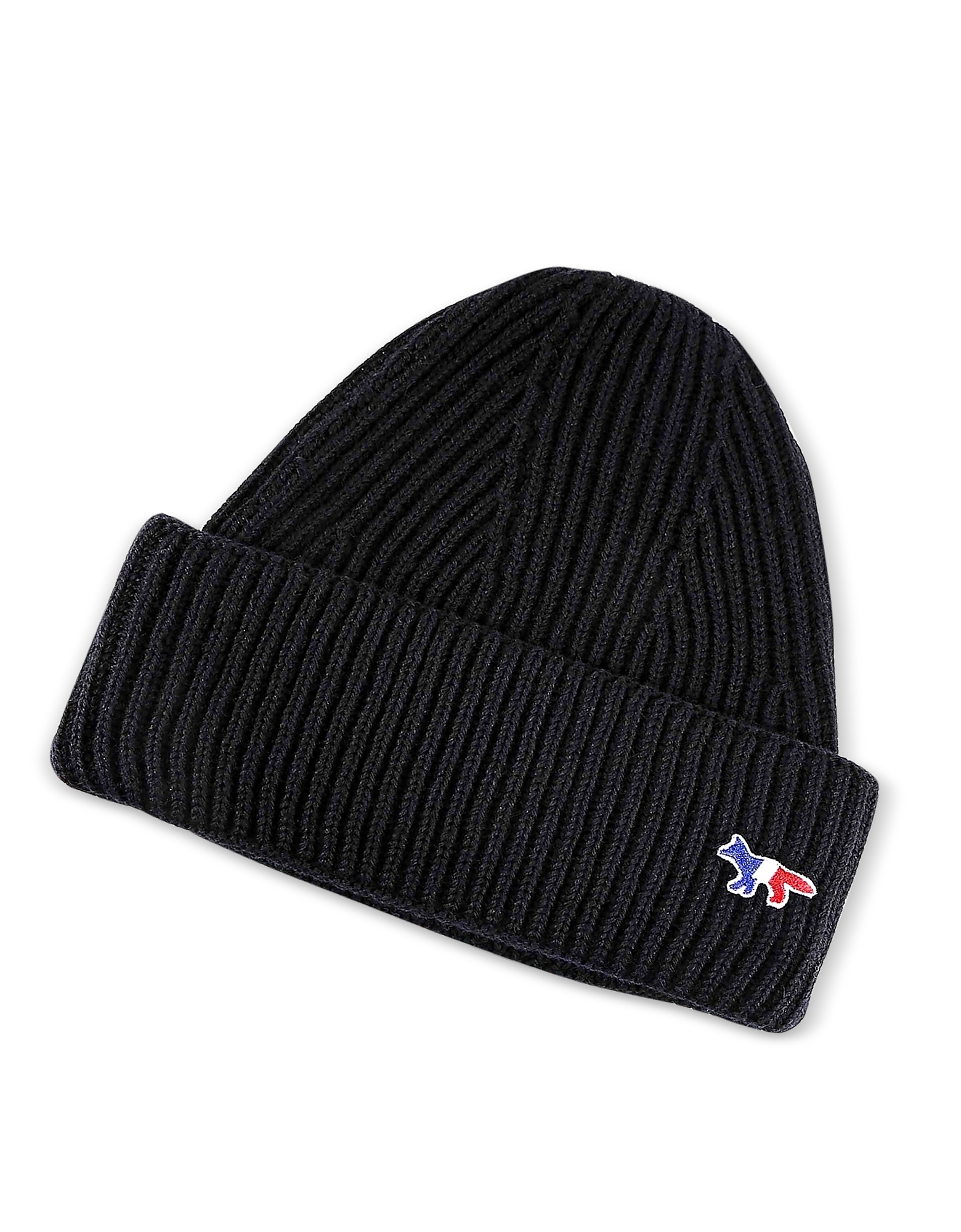 Maison Kitsuné Men's Hats, Ribbed Wool Hat w/Fox Patch