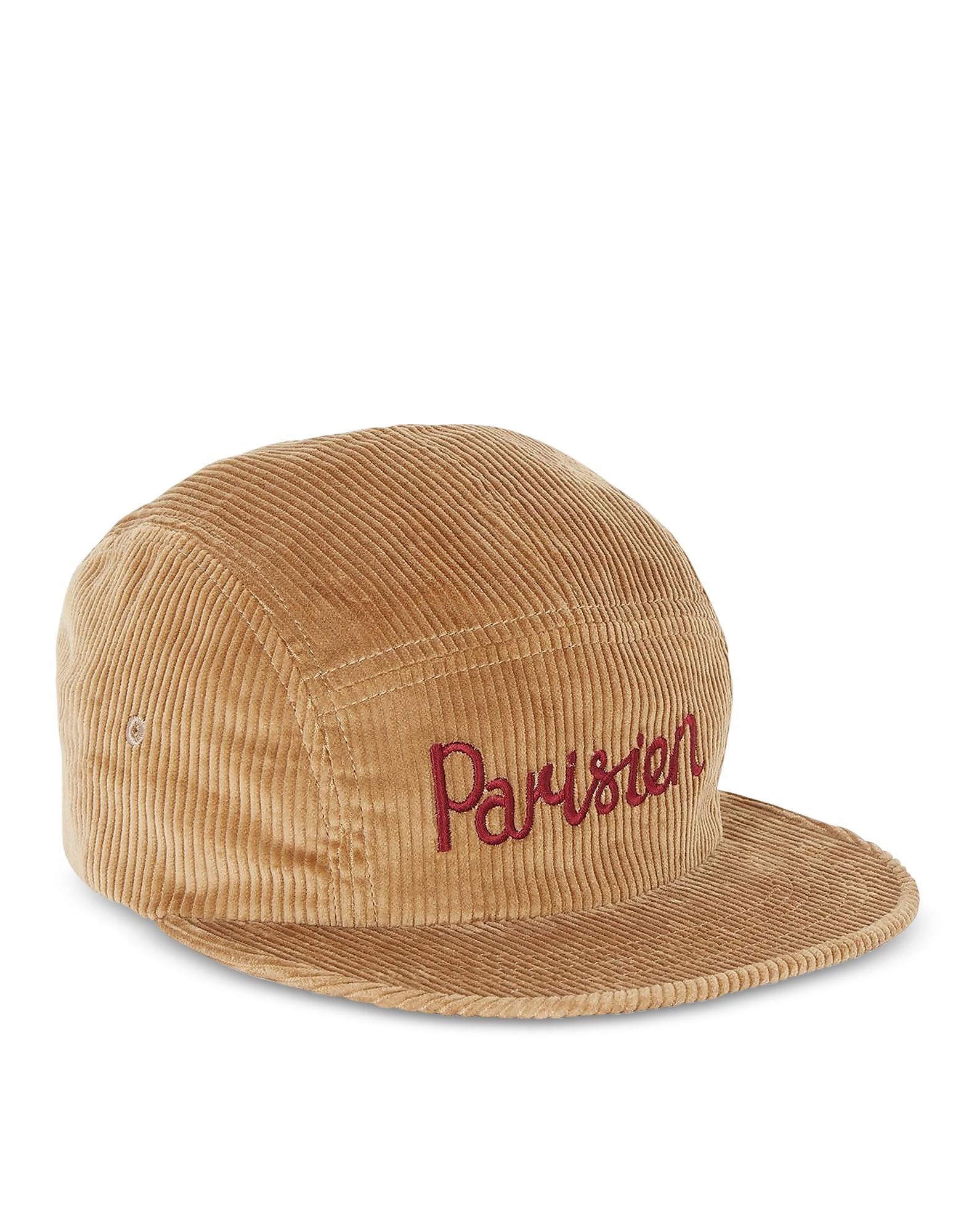 Image of Maison Kitsuné Designer Men's Hats, Corduroy Parisien Camel Baseball Cap