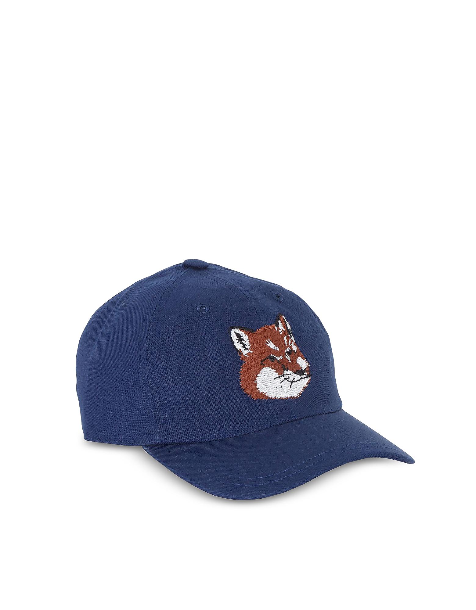 Maison Kitsuné Men's Hats, Large Fox Head 6P Navy Blue Cotton Blend Baseball Cap