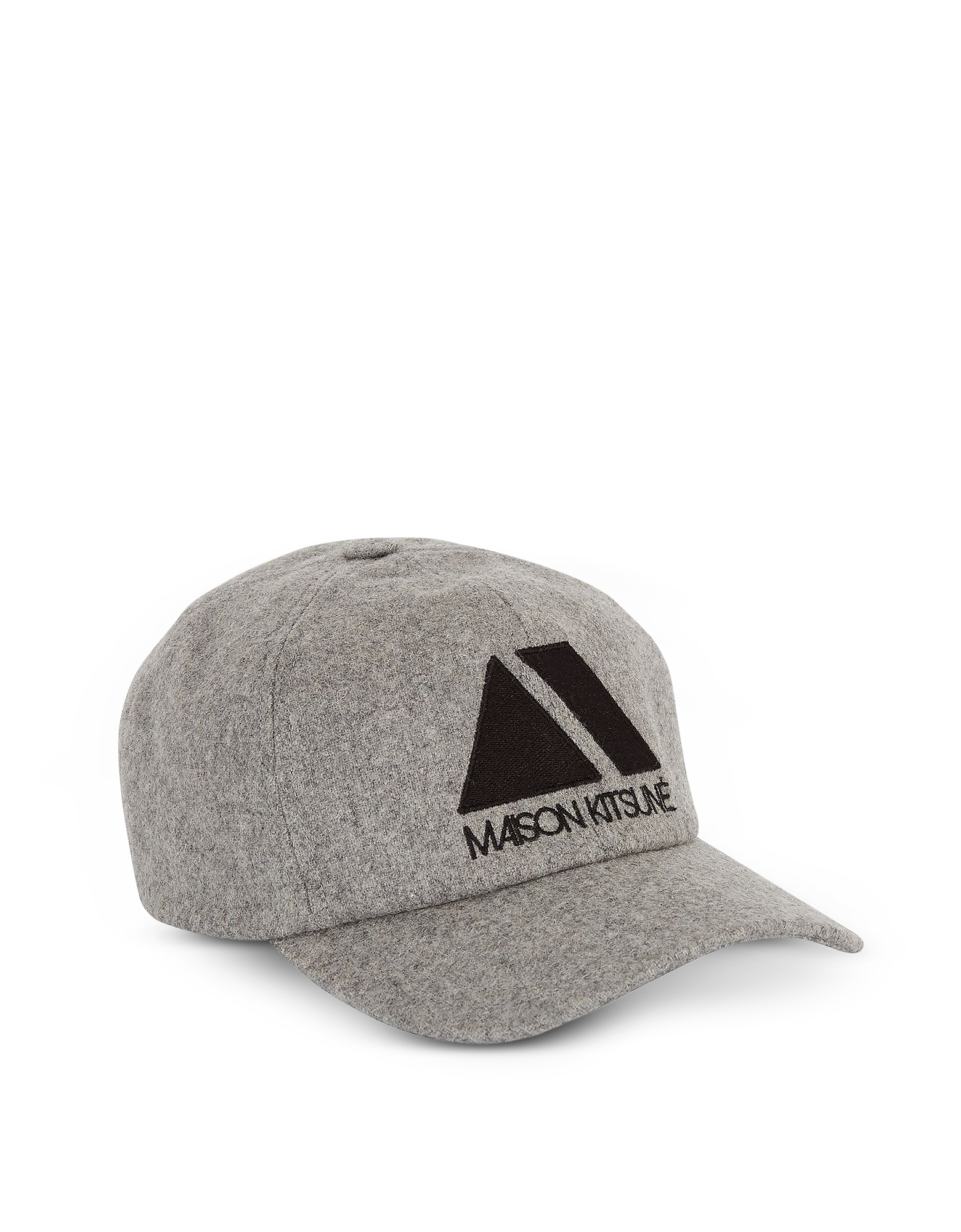 Image of Maison Kitsuné Designer Men's Hats, Light Grey Wool Blend 6P Triangle Baseball Cap