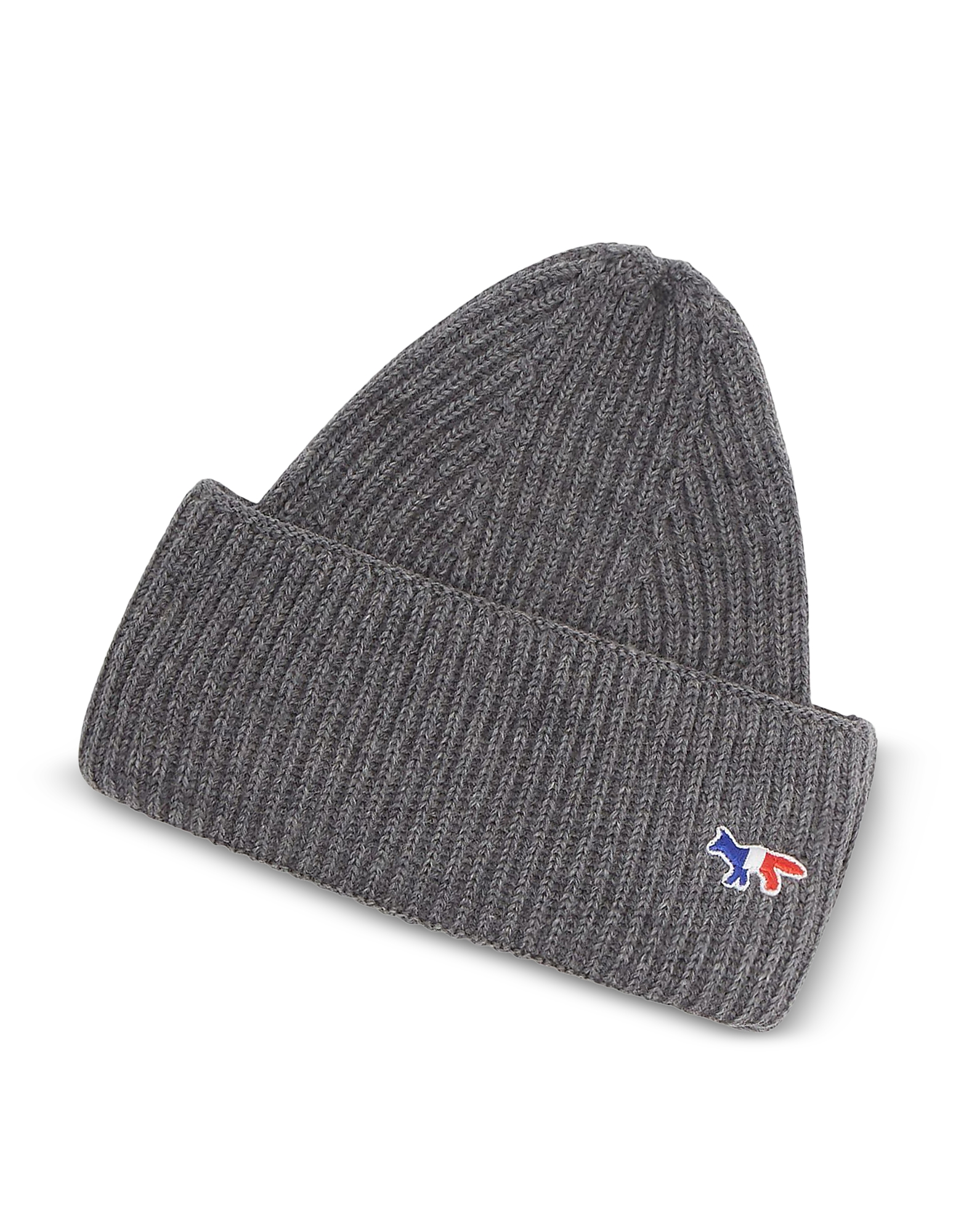 Ribbed Tricolor Fox Patch Beanie