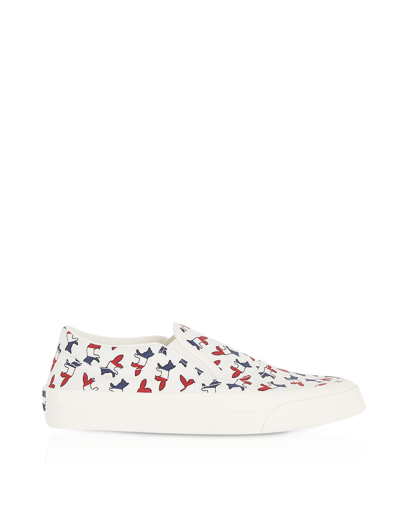 Maison Kitsuné Designer Shoes, All-Over Tricolor Fox Slip-On Sneakers