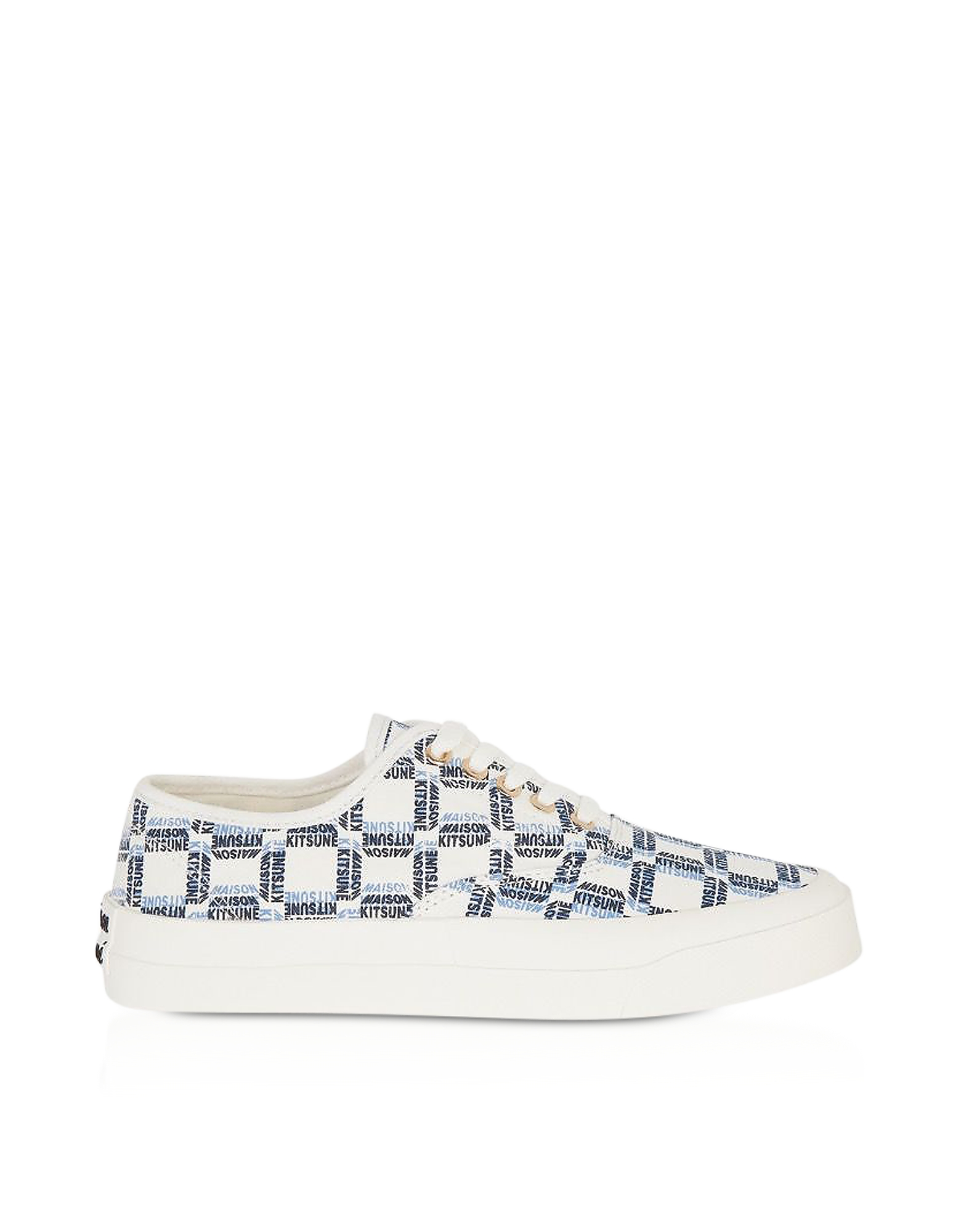 Maison Kitsuné Designer Shoes, All-Over Rectangle Laced Canvas Sneaker