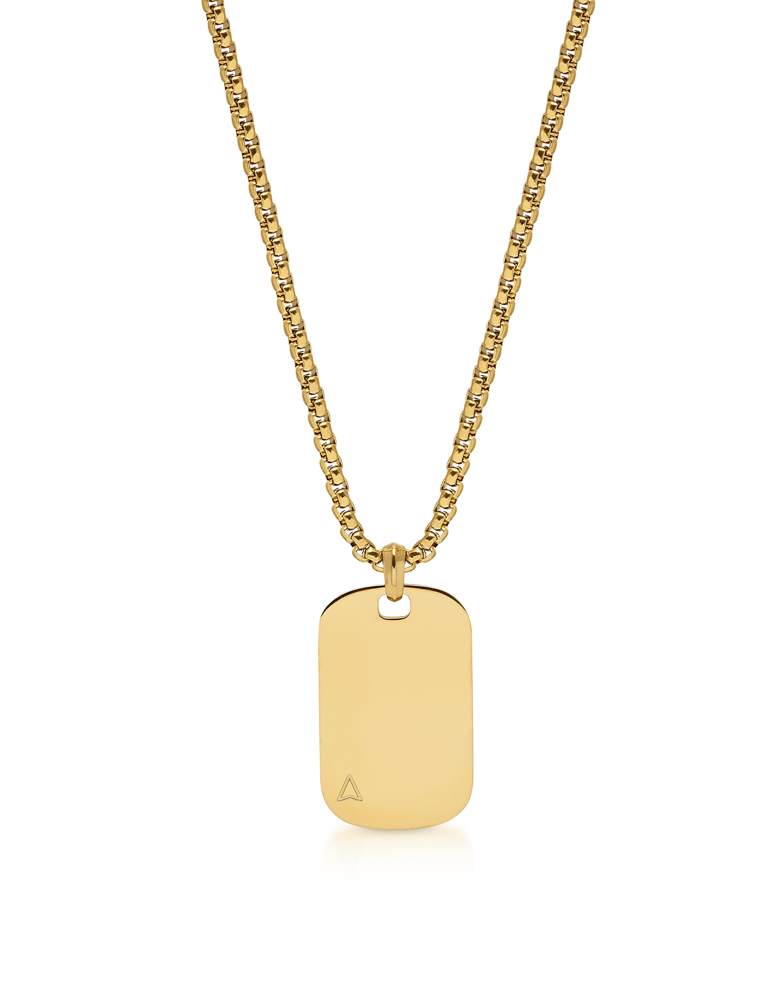 Id Tag Necklace In Yellow Gold