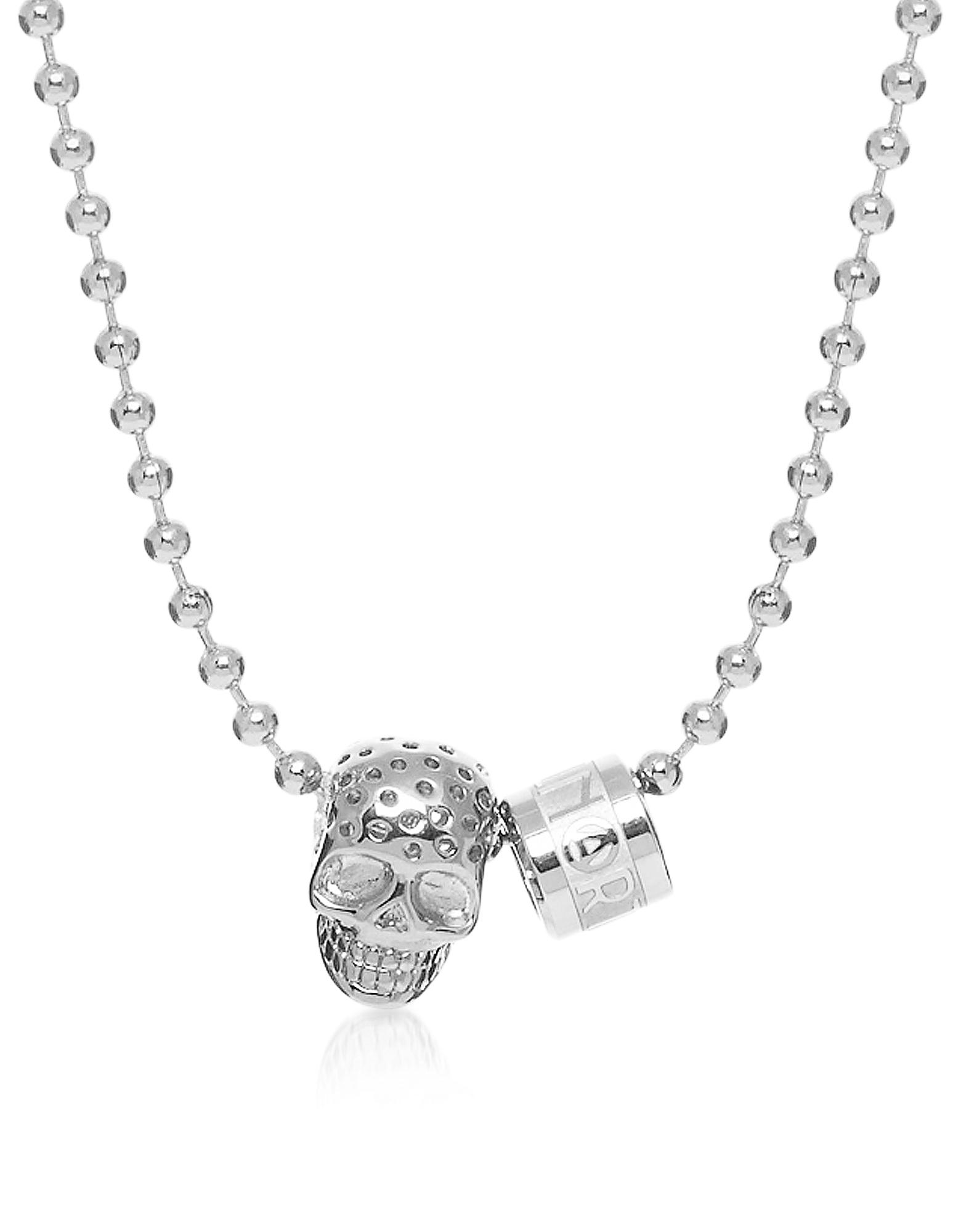 Серебрянное Ожерелье с Подвеской-Перфорированным Черепом, Кольцом с Логотипом и Шаром