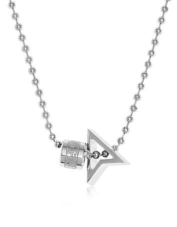 Northskull - Silver North Pendant w/ Logo Wheel & Ball Necklace