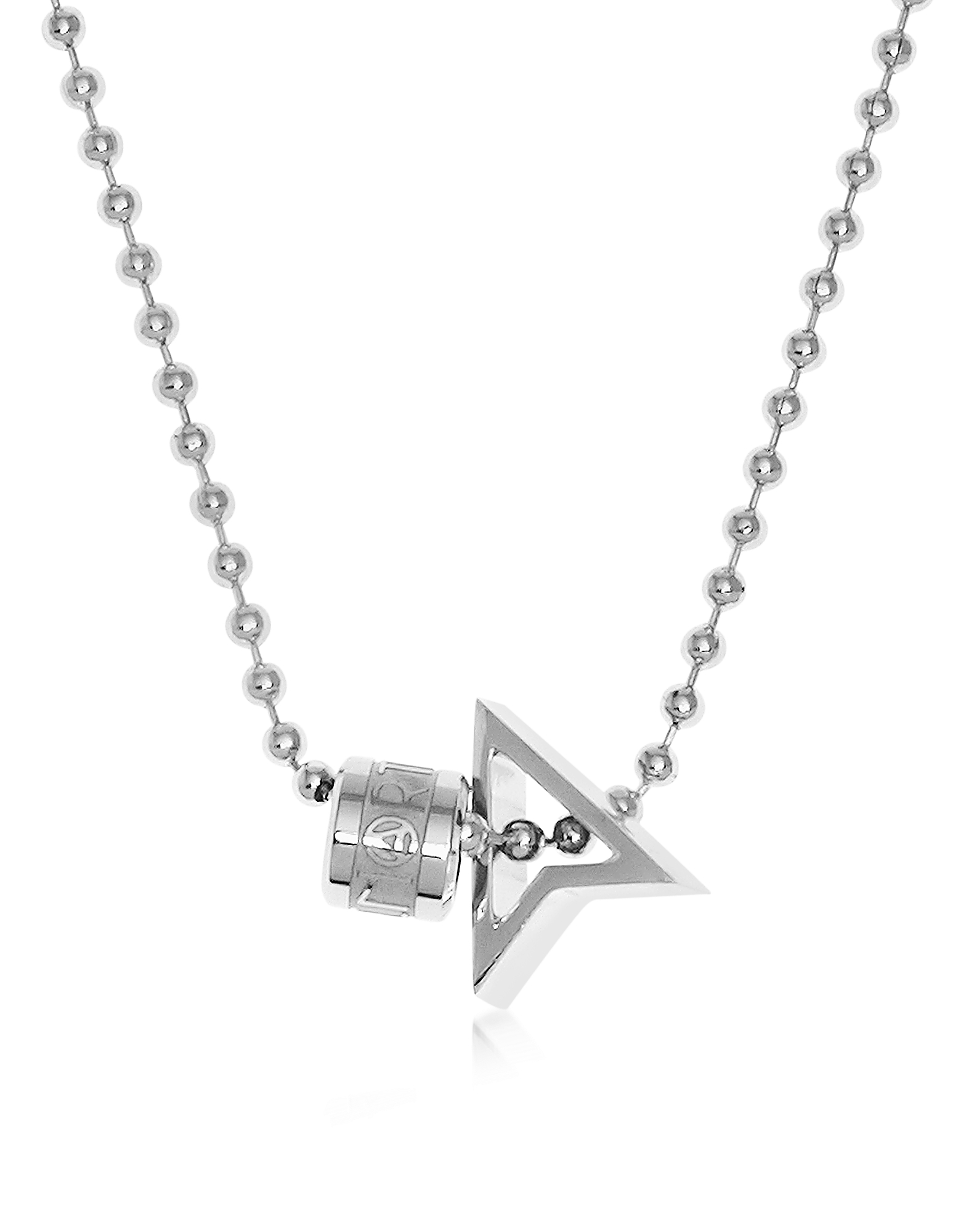 Northskull Men's Necklaces, Silver North Pendant w/ Logo Wheel & Ball Necklace