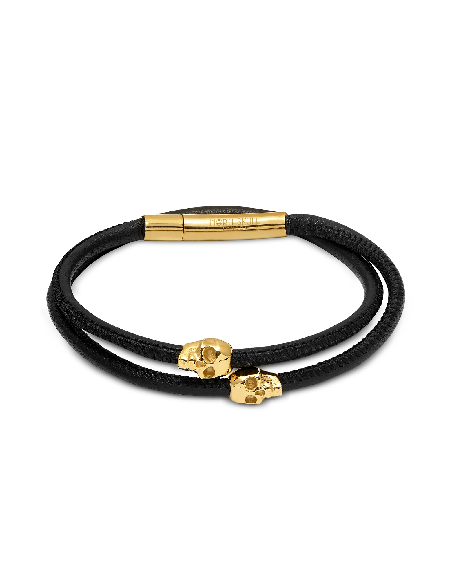 Skull Wrap Around Bracelet Black Leather & Yellow Gold