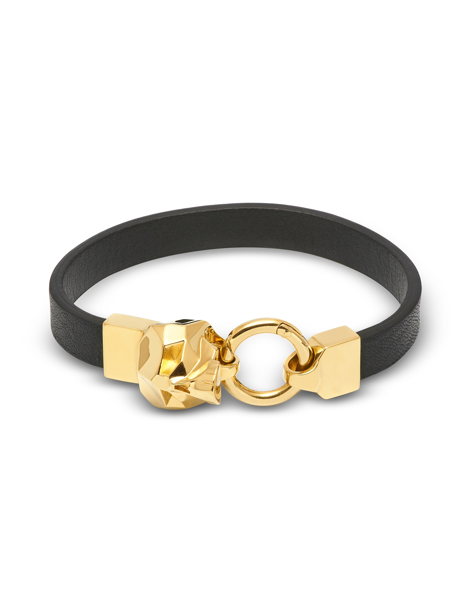 Hexagus Skull Leather Bracelet_Yellow Gold
