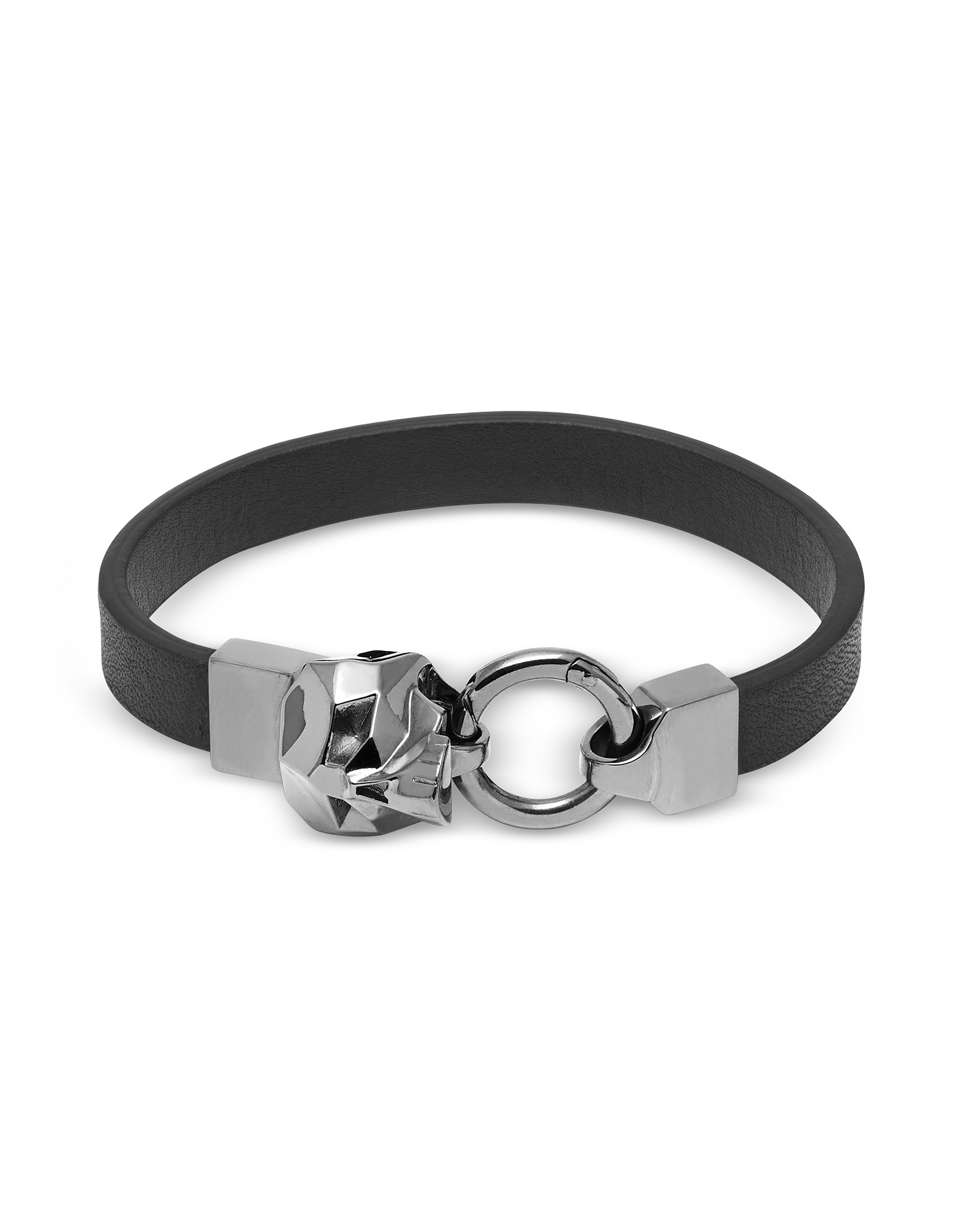 Hexagus Skull Leather Bracelet Gunmetal